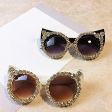 c55e7ba745b 2018 summer luxury gold rhinestone Sunglasses black white frame cateye sun  glasses for women ladies designer Vintage Shades punk
