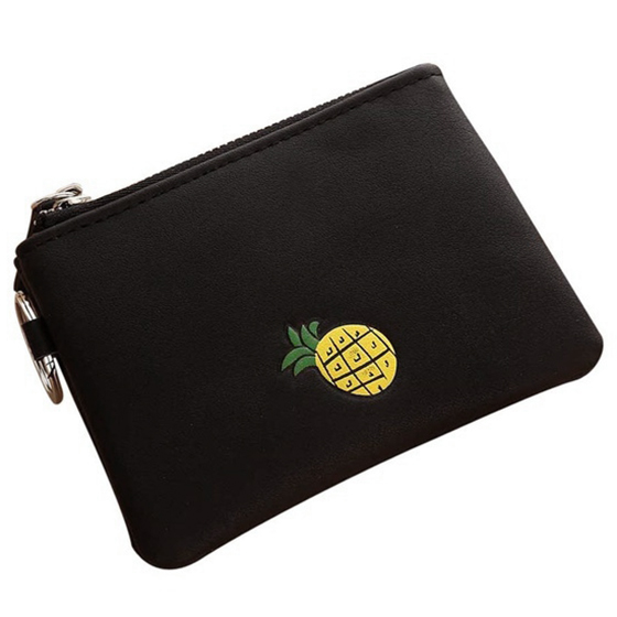 New Arrival Women Simple Short Wallet Fruit Zipper Coin Purse Card Holders Handbag(Black)