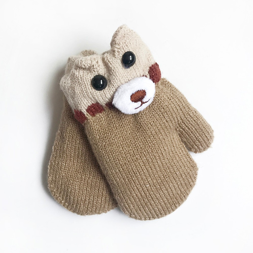 children girls boys winter gloves cartoon bear patchwork. Black Bedroom Furniture Sets. Home Design Ideas