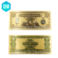 10Pcs/Lot Colorful USA Banknotes 2 Dollar Bills Bank Note in 24K Gold Plated Fake Currency Money For Gifts Free Shipping