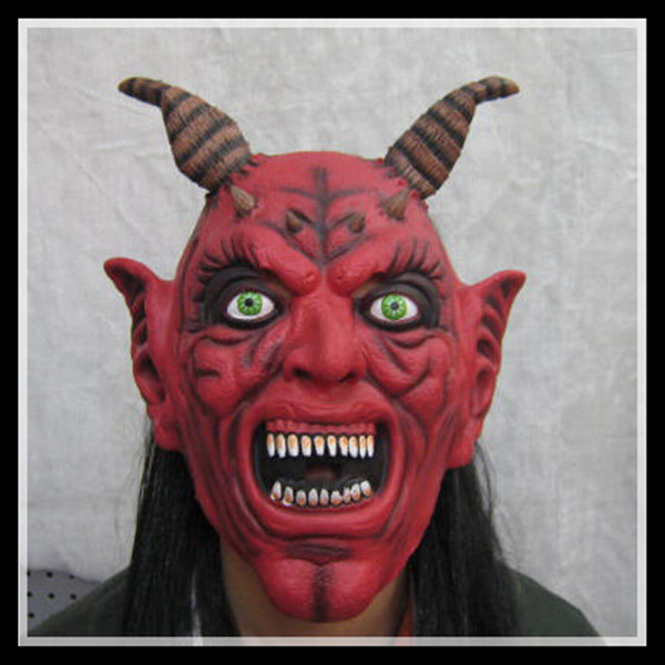 Hot 2015 Red Silicone Latex Horror Ox Horn Devil Head