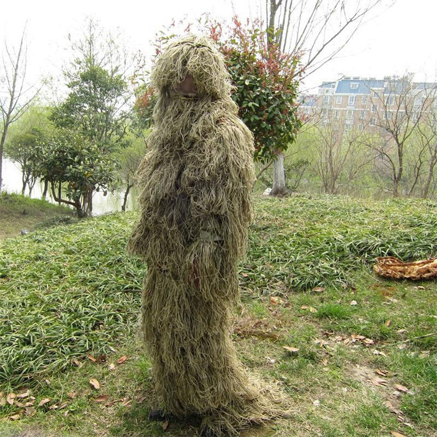 CS Bionic Grass Ghillie Suit Yowie Sniper Tactical Camouflage Suit with Hoody rifle covers Hunting Ghillie Suit Jungle Clothes