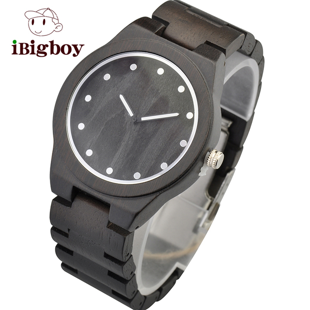 Ibigboy Mens Top Grade Ebony Wooden Watch Embossing Wood Dial Vintage Watch for Mens Fashion and Cassual Watch