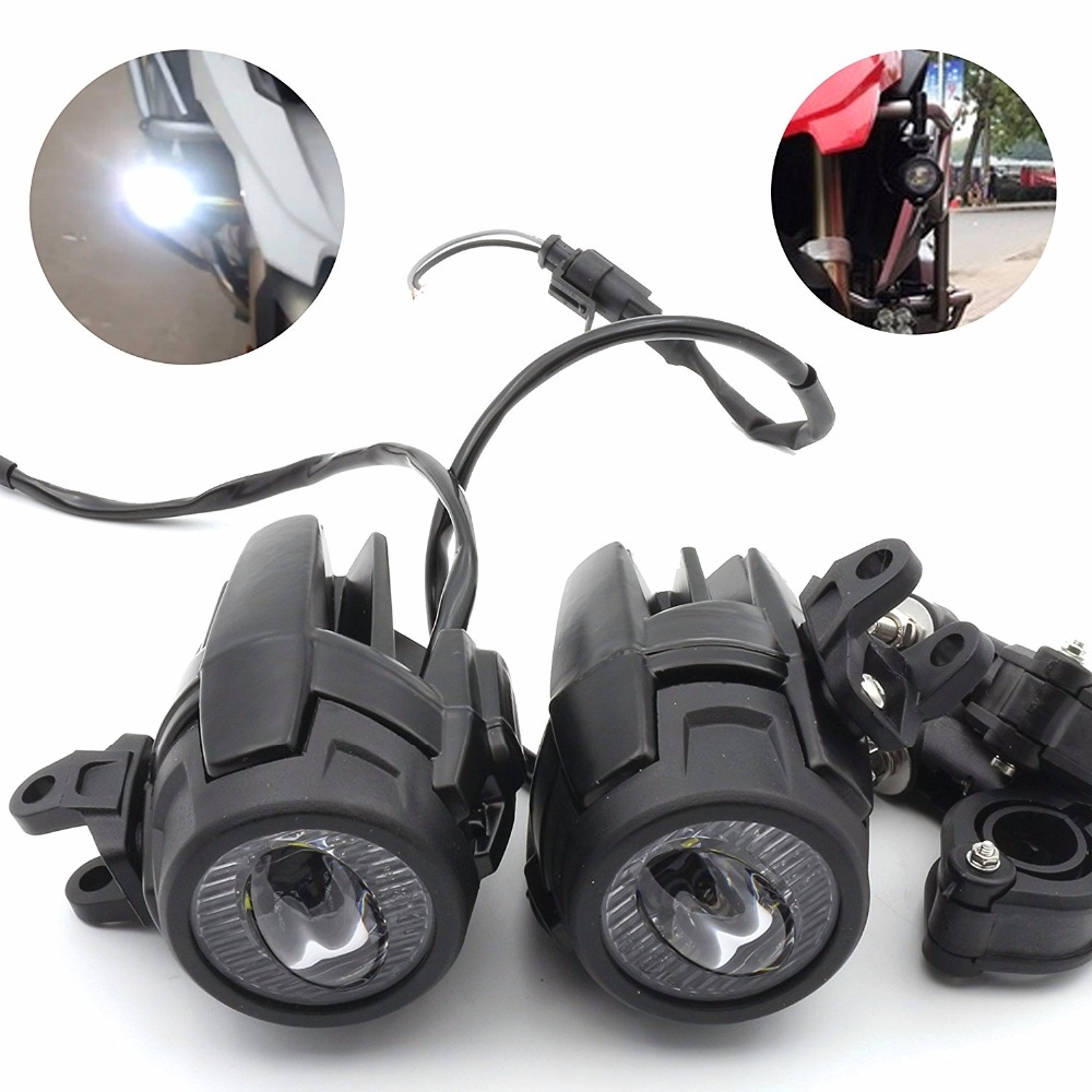 Pack 2 40W LED Auxiliary Fog Light Assemblies Safety Driving Lamp Motorcycle for BMW R1200GS F800GS