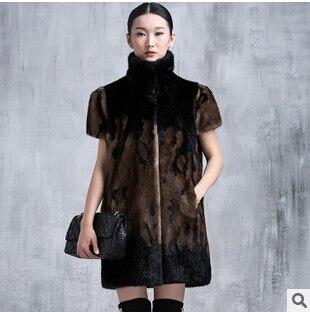 061fb4eecb785 Alta calidad abrigo de pieles de talla grande negro conejo largo chaleco de  piel sintética para mujer de pelo de visón Faux chaqueta de piel de Gilet  cuello ...