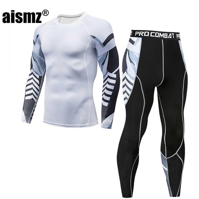 Aismz Для мужчин Термальность нижнее белье Комплекты печати сжатия флис потовые быстрое высыхание термо белье Для мужчин Костюмы кальсоны