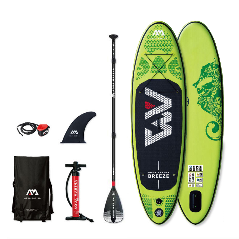 BREEZE - 2.75m / 12cm Inflatable Sand Up SUP Paddle Board With Carry Backpack / Air Pump / Fin / Safety Rope / Paddle