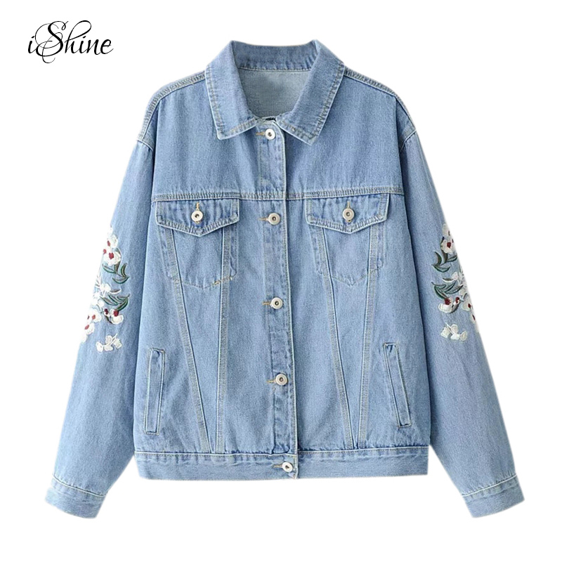 Fashionable Women Streetwear Denim   Jacket   Coats Long Sleeve Pockets Autumn Winter Floral Embroidery Vintage   Basic     Jackets   Female