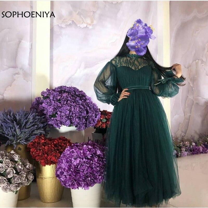 Nouveauté robes de soirée à manches longues 2019 Dubai Robe de soirée musulmane Robe formelle verte Robe de soirée robes de soirée