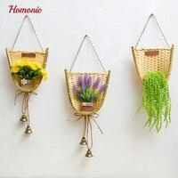 Rattan Flower Basket Flower Pot Planter Hanging Vase Artificial Bonsai Container Home Garden Wall Decoration Garden