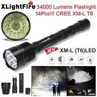XLightFire 14x XML T6 5 Mode 18650 Super Bright LED Flashlight 5 switch Mode Camping Lamp Outdoor White Light Lamp Black PJ3