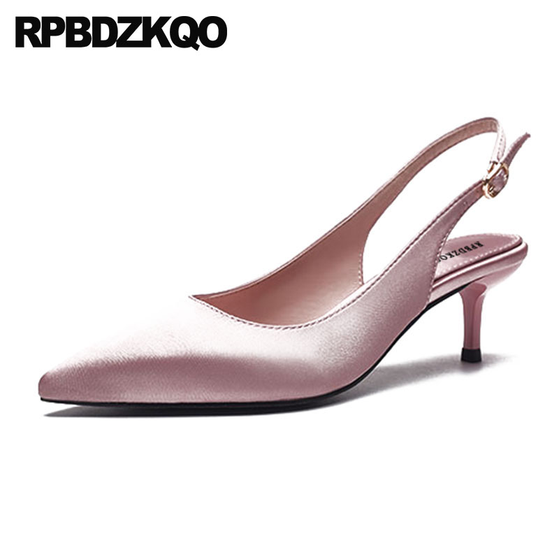 Strap Pink Slingback Pointed Toe 2018 Women Pumps Belts Size 4 34 Kitten Red Satin Shoes Bridal Sandals High Heels Bride MediumStrap Pink Slingback Pointed Toe 2018 Women Pumps Belts Size 4 34 Kitten Red Satin Shoes Bridal Sandals High Heels Bride Medium