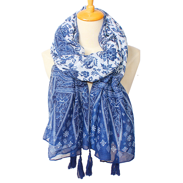 Chinese retro national style blue and white porcelain fringed cotton and linen scarf trade literary elegance large shawl scarves