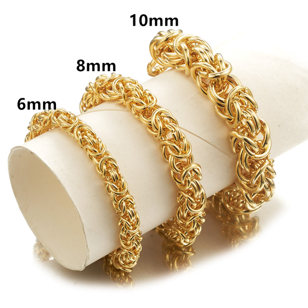 6/8/10MM Charming Stainless Steel Gold Handmade Circle Byzantine Link Chain Men's Women's Bracelet Wristband Customized 7-11inch