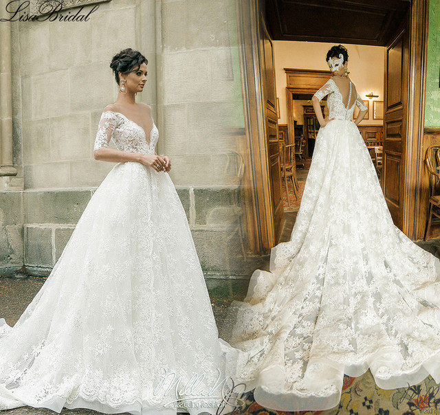 A Line Wedding Dresses with Chapel Train