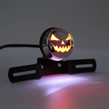 Halloween Ghost Face Style Red LED License Plate Lamp Rear Tail Brake Stop Light For H-arley Touring With Chrome Shell