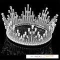 Высокое Качество Невесты Свадебное Корона Золото Посеребренная Перла Rhinestone Большой Королева Корона Свадебные Прически Аксессуары HG-GB011