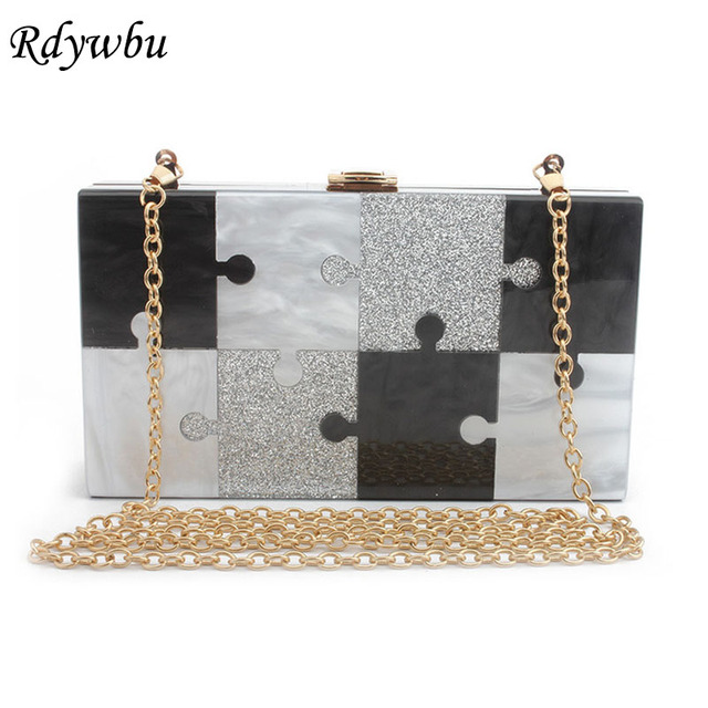 c7979688d8 US $25.92 30% OFF|Rdywbu Brand Luxury Sequins Puzzle Box Evening Bag  Clutches New Fashion Chain Shoulder Bag Women Small Acrylic Party Bolsa  B635-in ...
