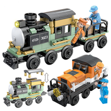 Fit City Creator Steam Locomotive Freight Train Set Mini Figures DIY Building Blocks Bricks Toys For Children Boy Gifts цены онлайн