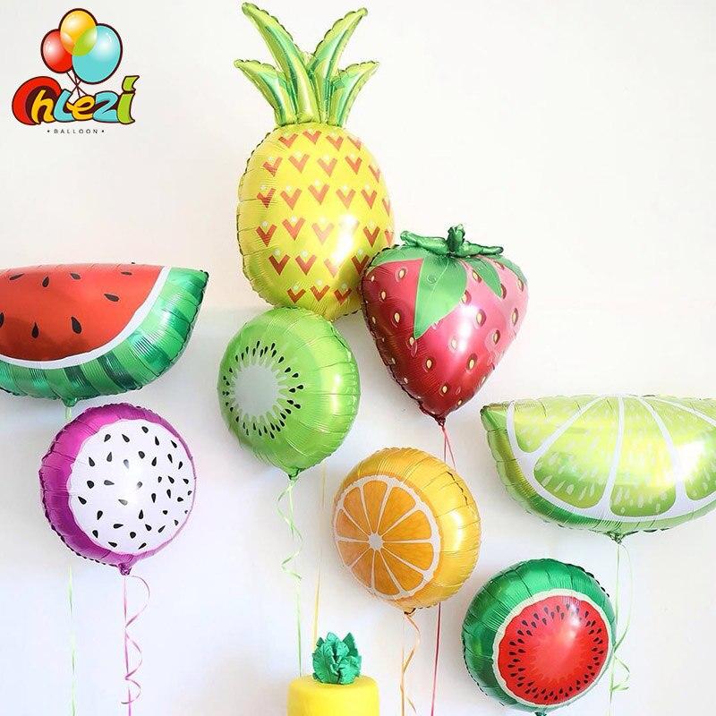 10 шт., фольгированный Гелиевый шар 18 дюймов, арбуз, киви, клубника, апельсин, ананас, шар, летние праздничные украшения, детская игрушка
