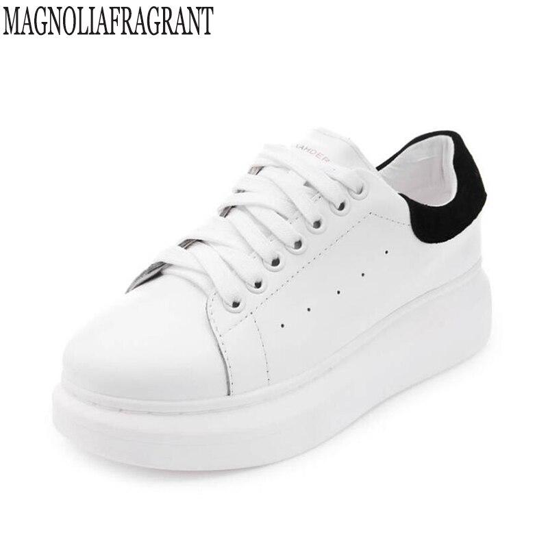חדש 2019 אביב סתיו לנשימה נוח נעלי נשים דירות עור רך אופנה נשים מקרית מותג לבן נעלי k275