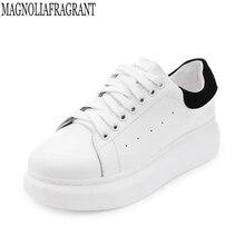 Yeni 2019 İlkbahar sonbahar nefes rahat ayakkabılar kadın Flats yumuşak deri moda kadın rahat marka beyaz ayakkabı k275