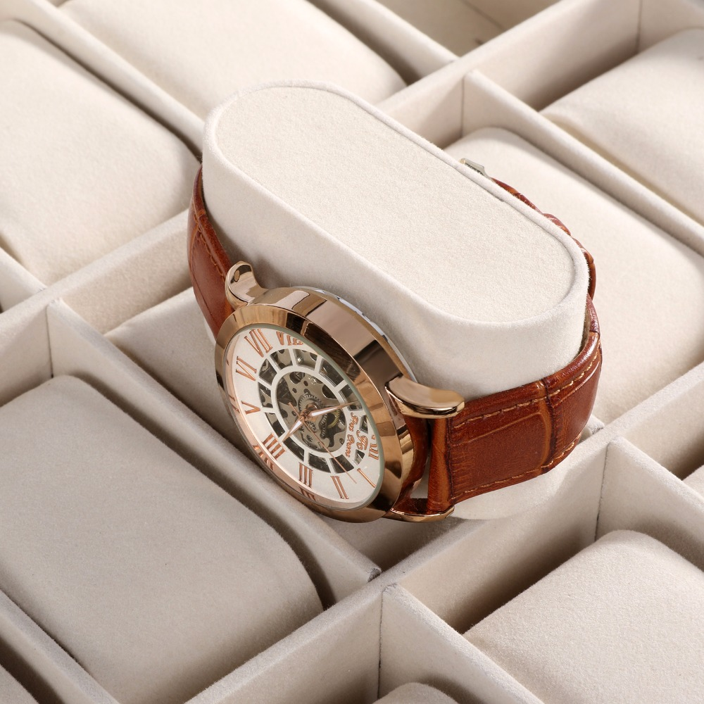 HOMDOX Large Synthetic Leather Glass Top 24 Watch Holder Display