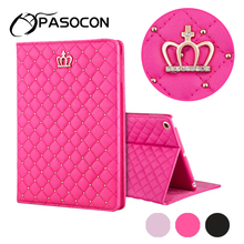 For 9.7 inch ipad 234 Fashion Flip Crown Grid Smart Case Protective new ipad 2018 Multi-angle Stand Case air 2 Cover