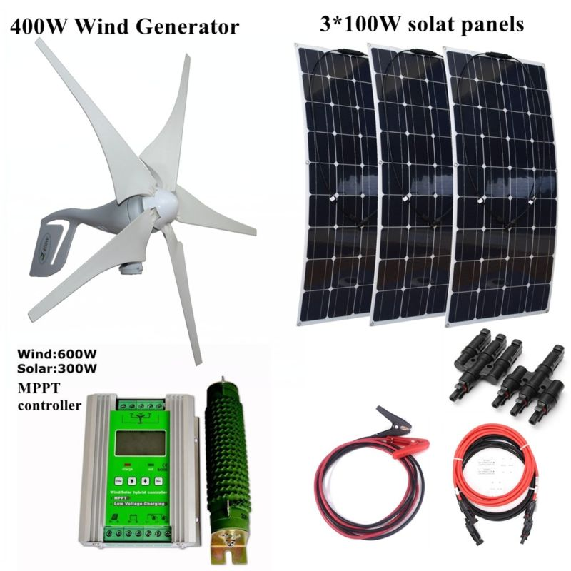 400W Wind Generator +3*100W Solar Panels Module +12V/24V Wind Solar Controller Houseuse Wind Solar 700W Solar System 6pcs 100w flexible solar modules 400w vertical wind generator with 4000w inverter and controllers 1000w wind solar power system