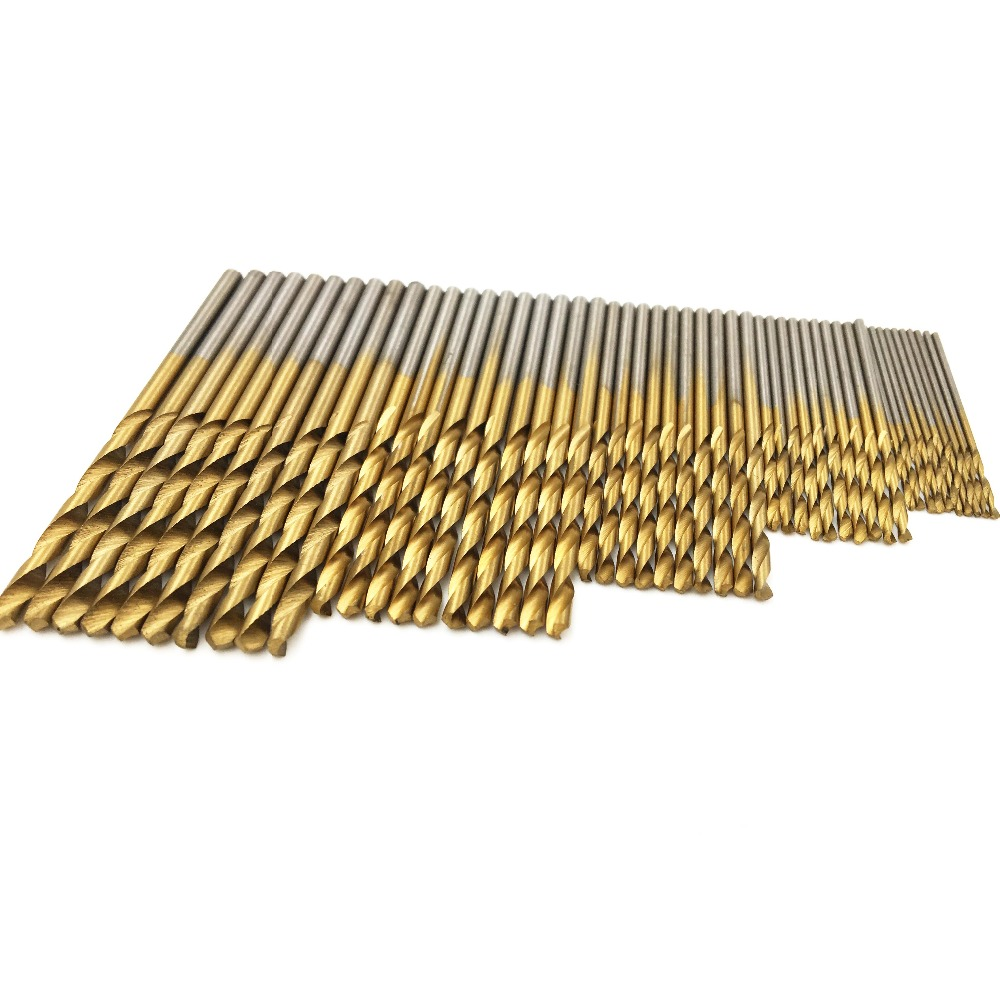 50pcs HSS Titanium Coated Twist Drill Bits Saw Set For Woodworking Metal Plastic Concrete Rotary Drill Bit Sets 1/1.5/2/2.5/3mm 50pcs set twist drill bit set saw set 1 1 5 2 2 5 3mm hss high steel titanium coated woodworking wood tool drilling for metal