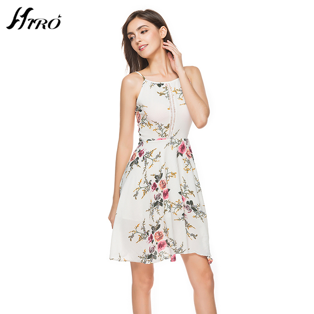 7ac5b28217404 US $21.52  2017 HIRO Summer Dresses Boho Sexy Dress Women Floral Print  Vintage Chiffon Vestidos De Fiesta Spaghetti Strap Knee length Dress-in  Dresses ...
