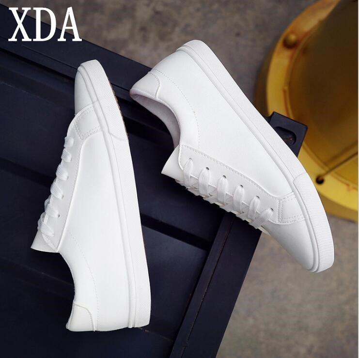 XDA 2018 Spring And Summer New White Shoes Women Fashion Flat Leather Canvas Shoes Female White Board Shoes Casual Shoes F165 blue and white canvas anti static shoes esd clean shoes pharmaceutical shoes work shoes add cotton