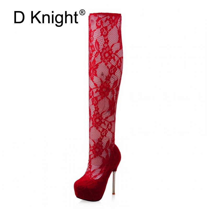 Sexy Women Lace Over The Knee Boots Fashion Round Toe Platform High Heels Lace Boots For Women New Ladies Thigh High Lace Boots new arrival fashion slim thigh high boots sexy high heels women platform shoes round toe zipper over the knee botas mujer