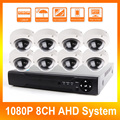 1080 P 8CH AHD DVR Kit Sistemas Com 10 M IR Night Vision Mini Câmera Dome Home Security CCTV Ao Ar Livre câmera de 2MP AHD Câmera DIY Kit