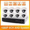 1080 P 8CH AHD DVR Kit Sistemas Con 10 M IR de Visión Nocturna Mini Domo Al Aire Libre Cámara de Seguridad Inicio CCTV 2MP AHD Cámara DIY Kit