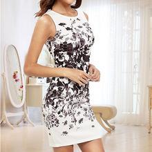 Yfashion Summer Fashion Elegant Ink Style Printing Beach Vest Dress for Women Girl