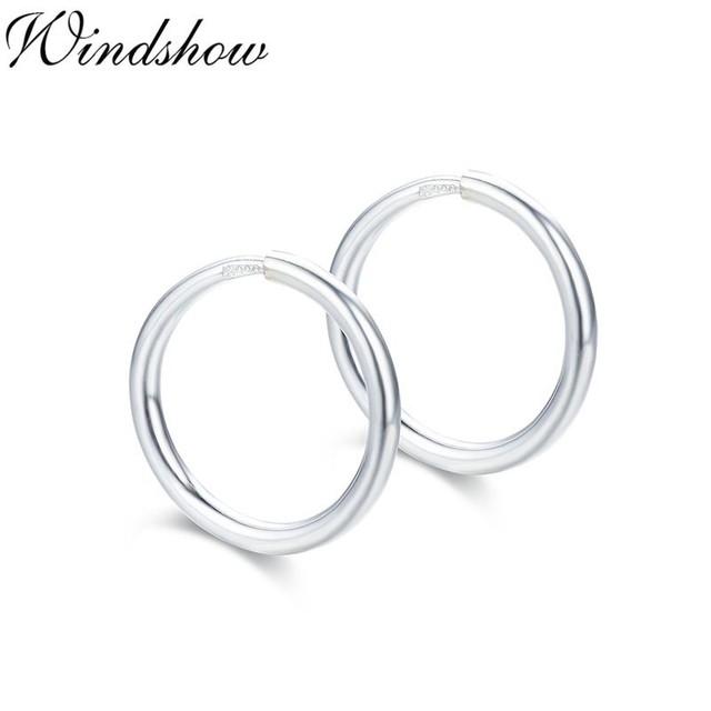 Real 990 Sterling Silver Circle Loop Slim Small Endless Round Hoop Huggie Earrings for Women Girls Kids Children Jewelry Aros