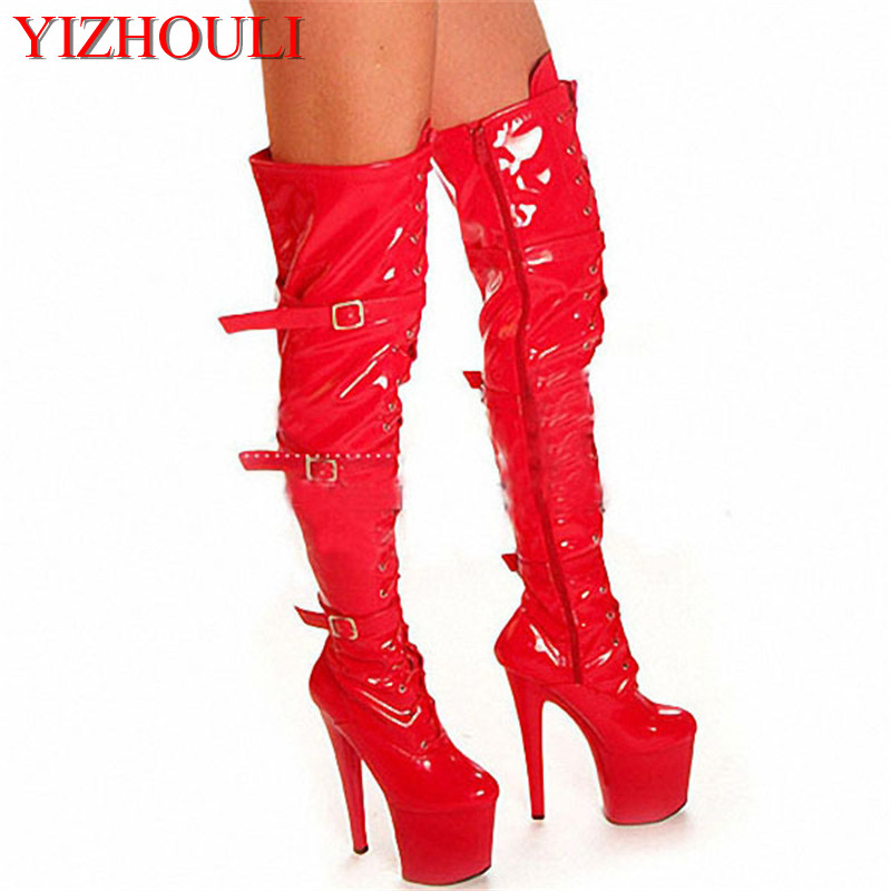 20cm classic over the knee boots high heel shoes sexy 8 inch thigh high boots for women sexy clubbing high heels 20cm pole dancing sexy ultra high knee high boots with pure color sexy dancer high heeled lap dancing shoes