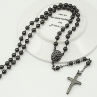 Black Rosary Beads Statement Necklace Cross Pendants Stainless Steel New Fashion High Quality For Men Women