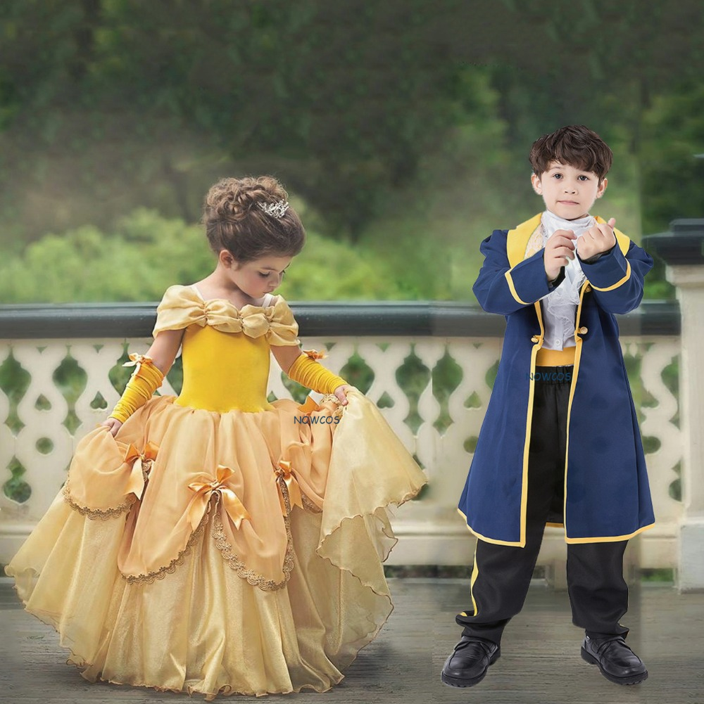 Girls Belle Costume Beauty and the Beast Princess Kids Pleated Party Fancy Dress