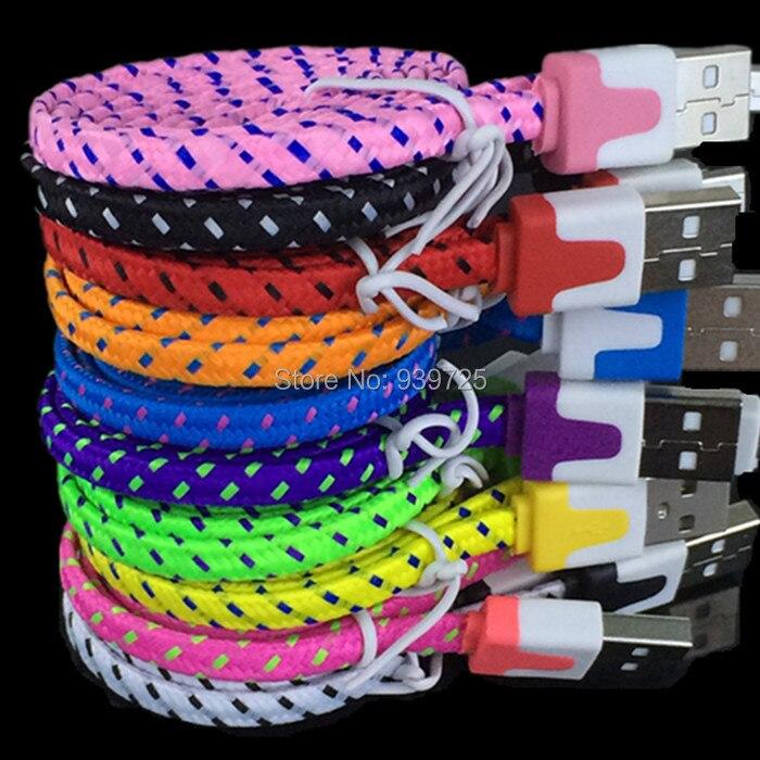 imágenes para 1000 unids/lote 1 M Colorido plana Paquetes de Accesorios de nylon trenzado cable v8 Para samsung para htc para blackberry