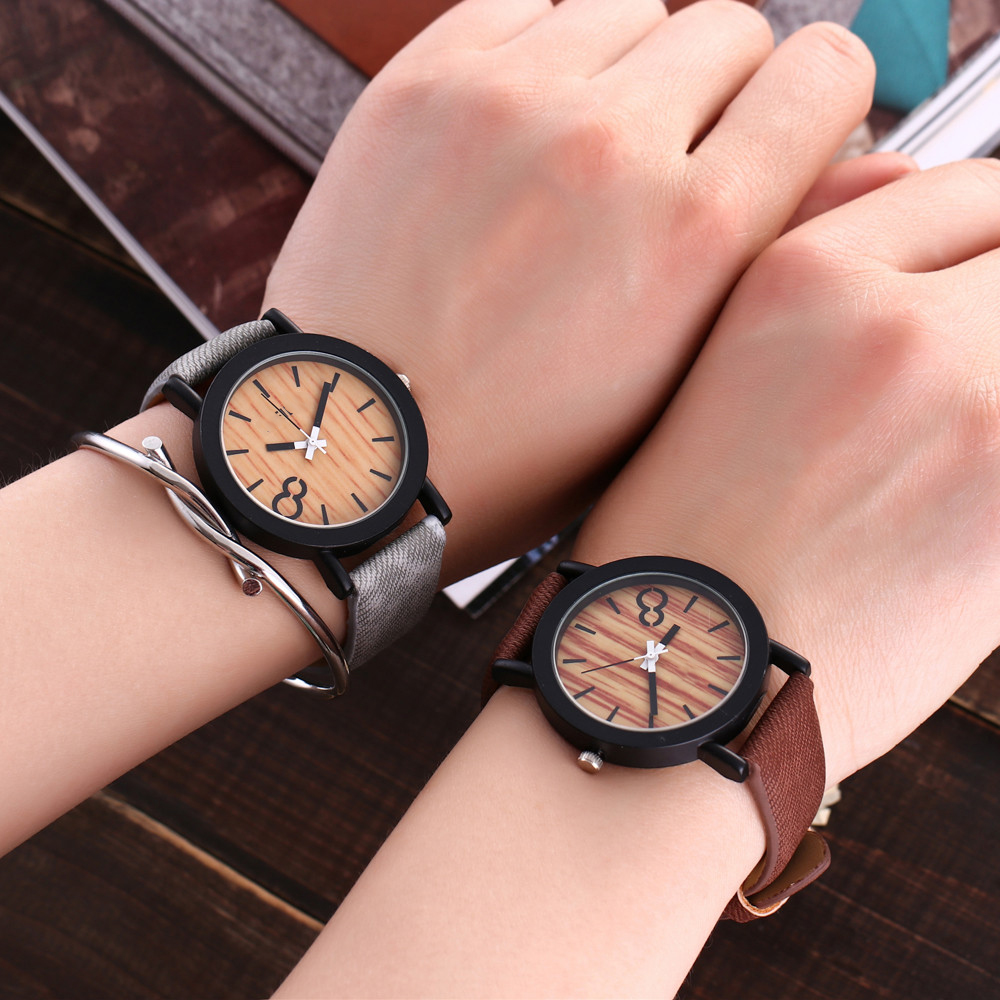 Lovers Design Bamboo Wooden Color Ladies Quartz Wristwatch Handcrafted Wood Watches