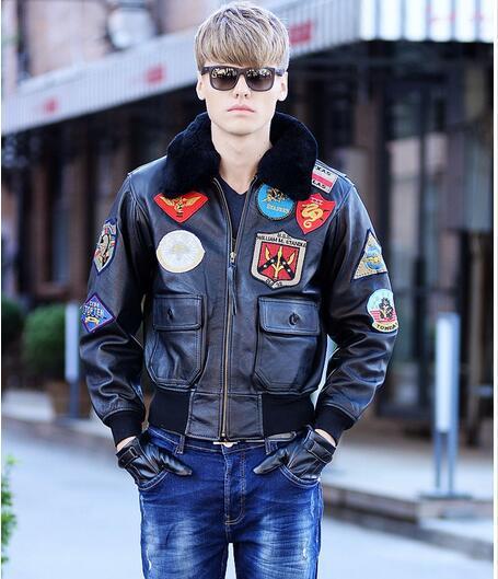 2016 Nuovo Volo Top Gun Giacca di Pelle Grasso sciolto grandi cantieri S-XXL Collare di Lana di pelle di Pecora Genuino Degli Uomini Militare A2 Pilota giacca