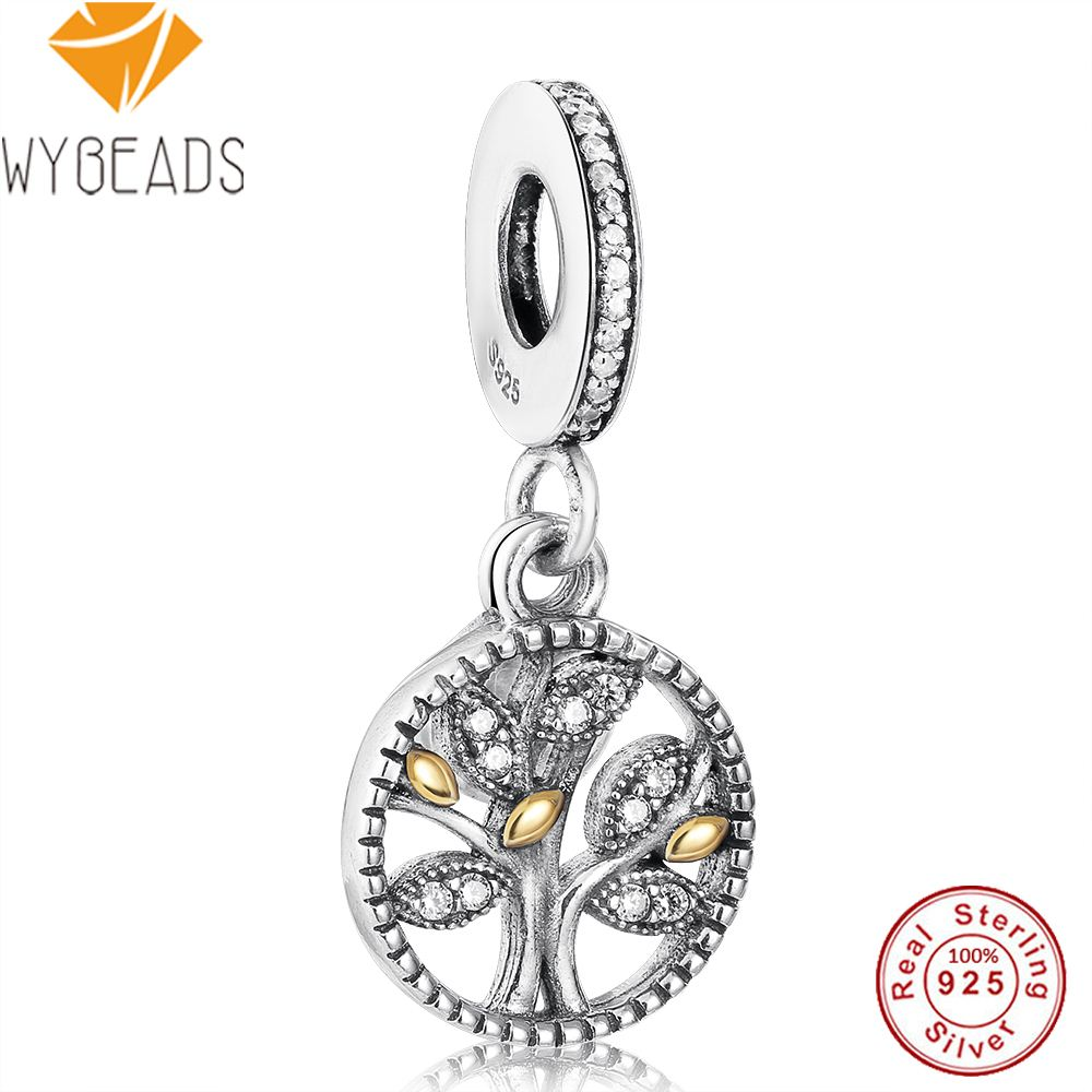 WYBEADS 925 Sterling Silver Family Heritage Pendant Clear CZ Charms European Bead Fit Bracelet Bangle DIY Accessories Jewelry