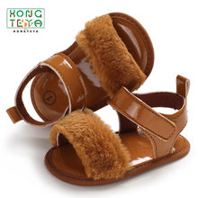 New arrival Baby Girls Sandals Shoes summer toddler leather sandals flip flop soft sole shoes(China)