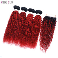 Red Ombre Bundles With Closure Brazilian Colored Human Hair Kinky Curly 4 Bundles With Closure 100G 1B Burgundy Dark Root Noremy