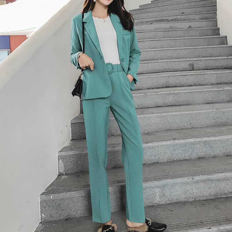 Women's Suit Pantsuit Office Long Sleeve Suit Jacket Female Slim Trouser Suit Ladies Jacket Set 2019 Autumn New