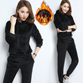 Women Winter Suits Velvet Tracksuits Fashion solid color Simple Hoodies Tops Long Pants Flannel Sporting Suits