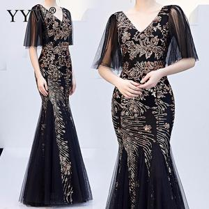 Image 2 - Black Mesh & Gold Floral Sequined V Neck Mermaid Dress Luxury Formal Evening Party Long Dress Batwing Sleeve Sexy Nightclub Wear