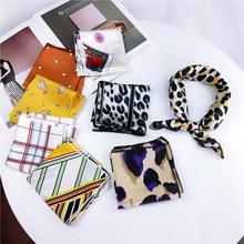 High Quality Satin Scarf Women Leopard Print Elegant Small Square Head Handkerchief Spring Autumn Fashion Scarves